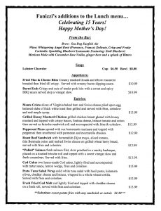Fanizzi Mother's Day lunch specials